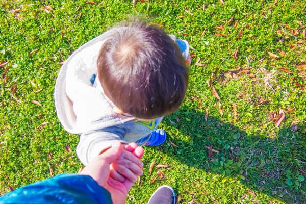 子供の手を引いている写真