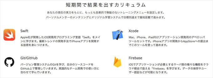 TECH ACADEMYのiPhoneアプリコースカリキュラム
