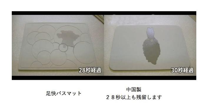 珪藻土バスマットの吸水比較