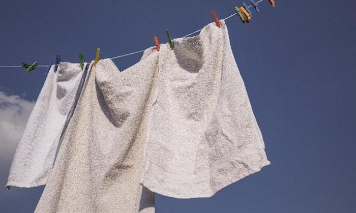 タオルを干している写真