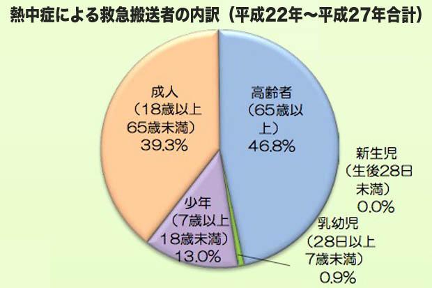 熱中症による救急搬送者の内訳(平成22年~平成 27年)