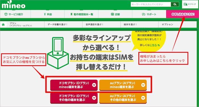 mineoのサイト