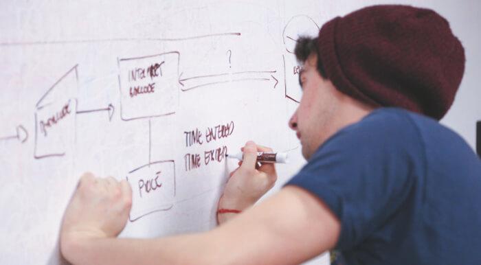 ホワイトボードにブログで稼ぐ仕組みを書いている男性