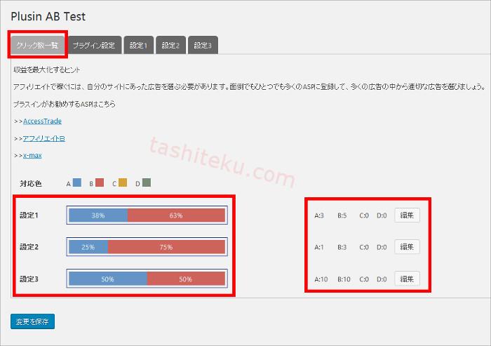 プラスインABテストプラグインの検証結果確認画面