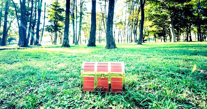 森で見つけた宝箱