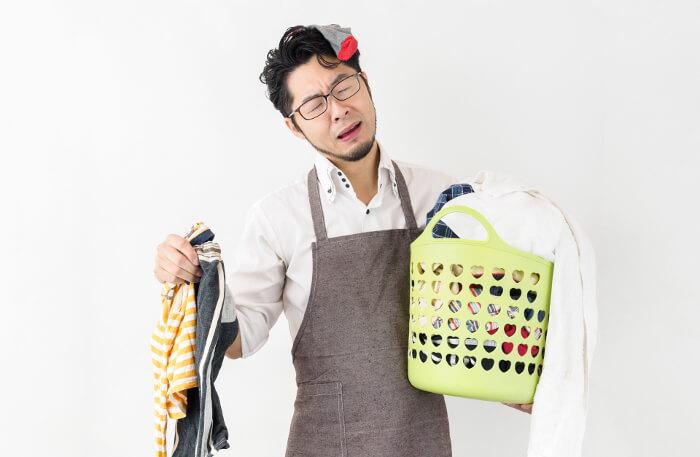 洗濯物が多くて忙しい主夫