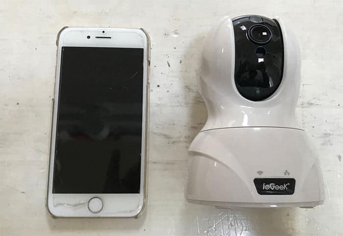 iphone7といえげえkネットワークカメラの大きさ比較